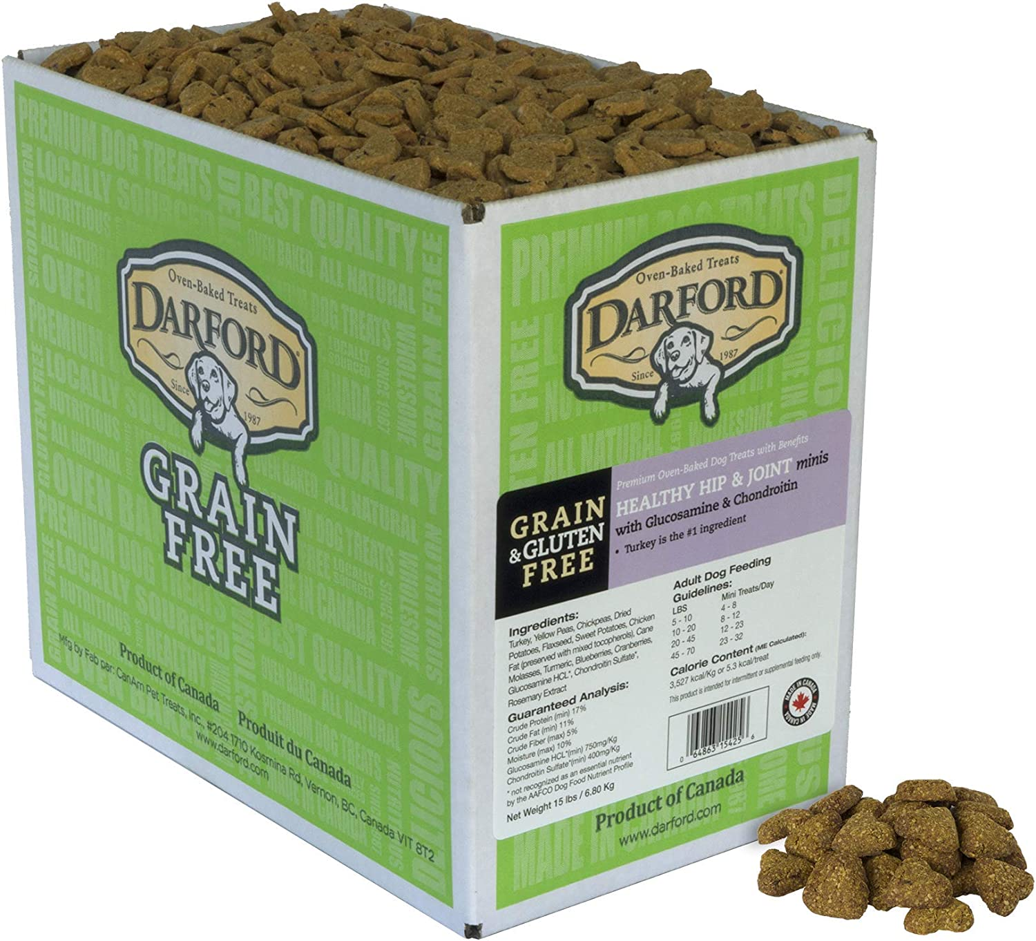 Darford Oven Baked Grain Free Functionals Healthy Hip and Joint Mini Dog Treats, 15 lb