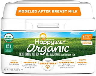 Happy Baby Organic Infant Formula Milk Based Powder with Iron, Stage 1, 21 Ounces, 4 Count(Packaging May Vary)