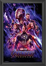 Marvel Avengers Endgame Wall Art Decor Framed Print | 24x36 Premium (Canvas/Painting Like) Textured Poster | Iron Man, Captain America, Marvel, Thor Infinity War Movie | Gifts for Guys & Girls Bedroom