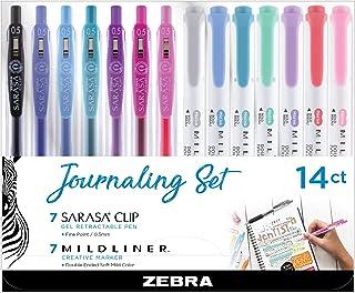 Zebra Pen Journaling Set, Includes 7 Mildliner Highlighters and 7 Sarasa Clip Restractable Gel Ink Pens, Assorted Colors, 14-Count