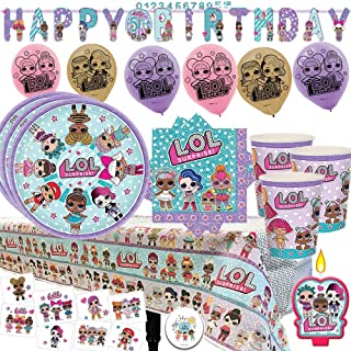 LOL Surprise Mega Party Supply Pack and Decorations for 16 Guests with Plates, Cups, Napkins, Tablecover, LOL Candle, Tattoos, 6 Balloons, Birthday Banner, and Exclusive Pin by Another Dream