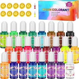 Gifort Colorant Résine Époxy, 24 Couleurs x 10ml Colorant Liquide Savon Non Toxique Pigment Résine Époxy UV pour Fabricati...