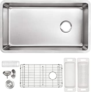 "ZUHNE 16G Offset Drain Stainless Steel Kitchen Sink Fits 36"" Cabinet (32 x 19 Inch Single Under Mount)"