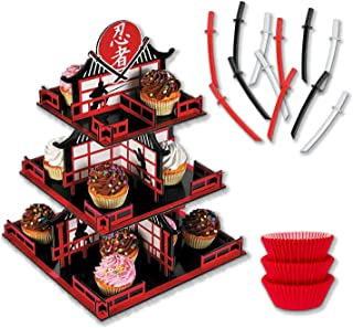 Ninja Cupcake Stand and Decoration Kit with Sword Toppers and Liners