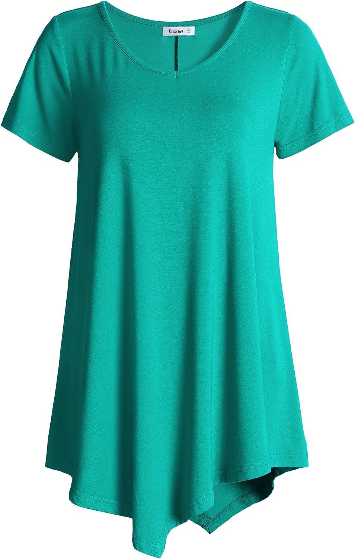 Esenchel Women's VNeck Swing Shirt Casual Tunic Top for Leggings