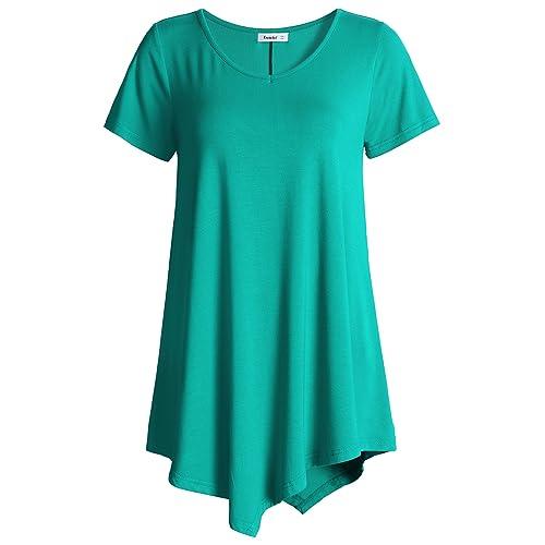 b2a82b06a6b Esenchel Women s V-Neck Swing Shirt Casual Tunic Top for Leggings