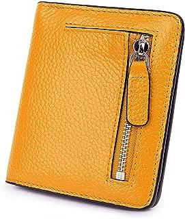 BIG SALE-AINIMOER Women's RFID Blocking Leather Small Compact Bifold Pocket Wallet Ladies Mini Purse with id Window (Yellow)