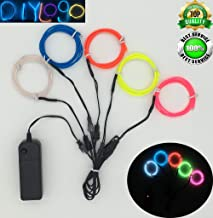 ShineWorld EL Wire Kit 5 by 1Meter, Portable Neon Light El Wire with Battery Pack for DIY Halloween Christmas Party Decoration (Blue White Pink Red Limegreen)