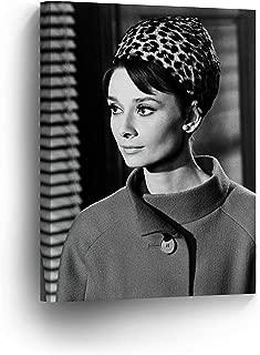 Audrey Hepburn Wearing Bandana Canvas Print Decorative Art Modern Wall Décor Artwork-%100 Handmade in the USA - AHV26_40x30