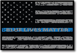 Thin Blue Line Distressed American Flag Car Magnet Blue Lives Matter for Car Truck SUV Heavy Duty Waterproof - in Support of Police and Law Enforcement Officers