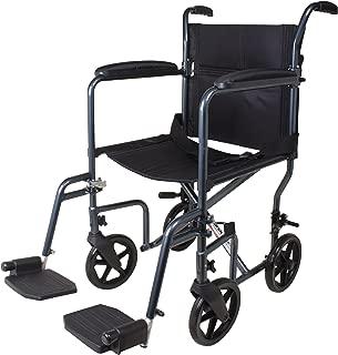 Carex Lightweight Transport Wheelchair - 19 Inch Seat - Folding Transport Chair for Adults - Aluminum - 8 Inch Wheels