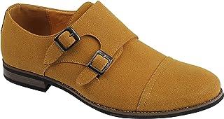 Xposed Hommes Faux Suède Cuir Monk Chaussures Double Bracelet Intelligent Classique Retro Décontracté Slip sur