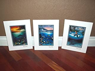 by Wyland Double Matted with Gold Foil Stamp Mermaid, Dolphins and Turtle Set