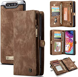 Galaxy A80 Wallet Case,AKHVRS Handmade Premium Cowhide Leather Wallet Case,Zipper Wallet Case [Magnetic Closure] Detachable Magnetic Case & Card Slots for Samsung Galaxy A80 Galaxy A80