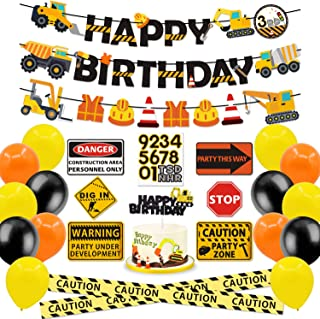 Faisichocalato Construction Party Supplies Dump Truck Birthday Banner Cake Topper Traffic Road Signs Caution Tape Balloons Decorations Kit for Kids Birthday Party