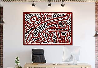Keith Haring - 1983 - POP Art - Canvas Wall Art Framed Print (18in x 24in Framed)