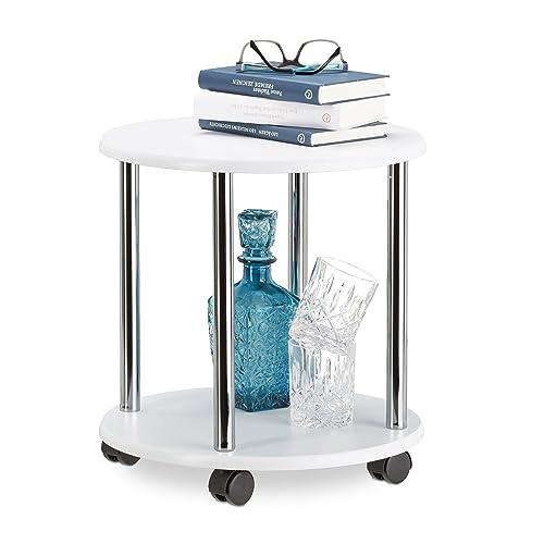 Relaxdays Table d'appoint blanche ronde à roulettes table basse plantes desserte chariot HxlxP 41,5 x 40 x 40 cm, blanc