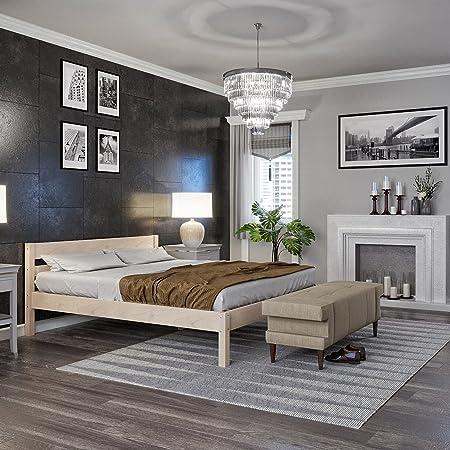 Lit 140x200 cm Kaja, Tête de lit Haute + Lattes – Cadre de Lit Double en Bois de Bouleau stratifié - Supporte jusqu'à 700 kg - Style Scandinave