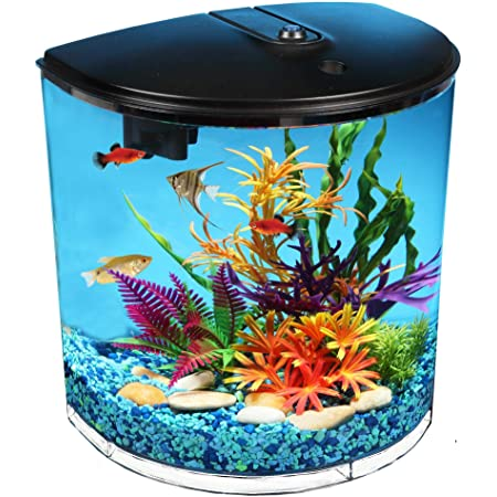 Koller Products AquaView 3.5-Gallon Fish Tank with Power Filter & LED Lighting