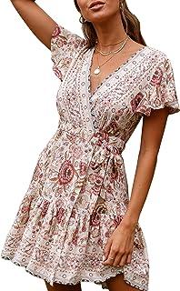 ECOWISH Women Bohemian Vintage Printed Ethnic Style Dress V Neck Short Sleeves Mini Dress
