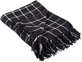 DII 100% Cotton Checked Throw for Indoor/Outdoor Use Camping Bbq's Beaches Everyday Blanket, 50 x 60, Black,CAMZ38501