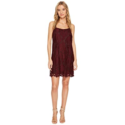 1.STATE Floral Lace Racerback Shift Dress (Deep Claret) Women