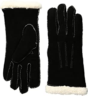 Isotoner Women's Suede Gloves with Moccasin Stitch and Sherpasoft Lining