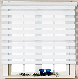 Foiresoft Custom Cut to Size, [Winsharp Basic, White, W 31 x H 72 inch] Zebra Roller Blinds, Dual Layer Shades, Sheer or Privacy Light Control, Day and Night Window Drapes, 20 to 110 inch Wide