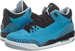 Nike Mens Air Jordan 3 Retro Dark Powder Blue/White-Black-Wolf Grey Leather Basketball Shoes Size 10