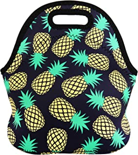 Violet Mist Neoprene Lunch Bag Tote Reusable Insulated Waterproof School Picnic Carrying Lunchbox Container Organizer For Men, Women, Adults, Kids, Girls, Boys (Pineapple)