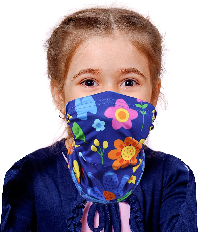 Kids neck gaiter face mask - bandana, balaclava, scarf, headband - filter pocket