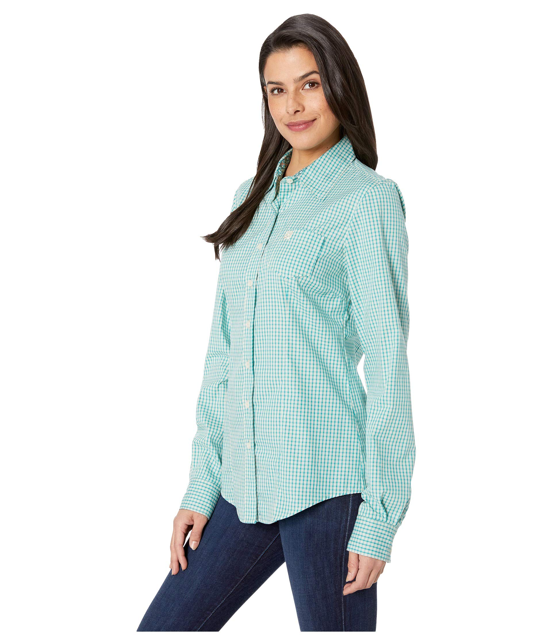 Turquoise Long Sleeve Plaid Cinch Long Plaid Cinch Turquoise Sleeve TpZAqw