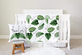 Personalized Leaf Neutral Boho Baby Swaddle Blanket With Name