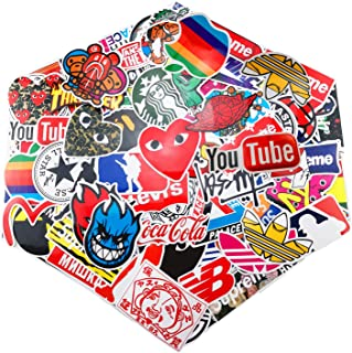 Fashion Brand Stickers 100 pcs Set Logo for Laptop Cool Sticker Water Bottle Decal Motorcycle Bicycle Graffiti Skateboard Luggage Patches for iPhone 11 Car Bumper Travel Case Waterproof Label