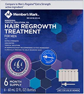 Minoxidil 5%, 6 Months Supply, Extra Strength Hair Loss Regrowth Treatment for Men Compare to Rogaine, 2 oz (Set of 6)