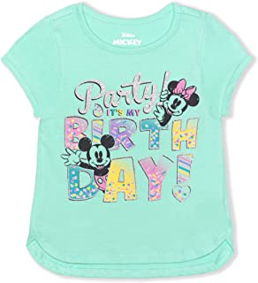 Disney Girl's Minnie and Mickey Mouse Birthday Blouse Tee Shirt