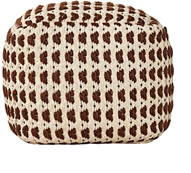 "MOTINI Pouf Ottoman Foot Rest, Wool and Cotton Cube Pouf for Living Room Boho, 18"" x 18"" x 18"""