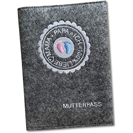 Mutterpassh/ülle mit Patch aus Filz grau//hellgrau Farbe w/ählbar | H/ülle f/ür deutschen Mutterpass mit Gummiband f/ür Schwangerschaft Baby Organizer