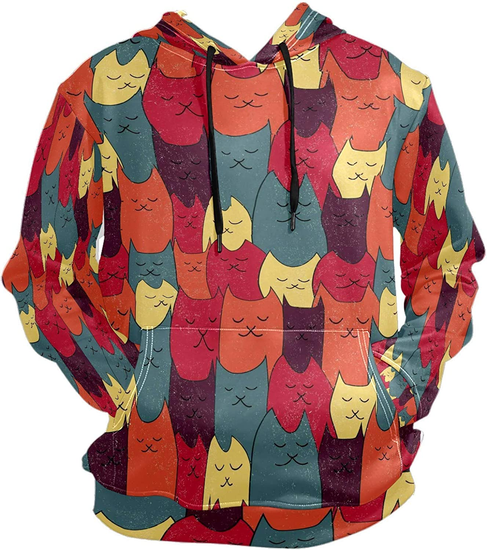 Men's Sport Hoodie Smug Smile Cat Funny Big and Tall Hoodies for Men Women Oversized Hooded Sweatshirt Hip Hop Pullover Hoodie Midweight Hood for Boys Girls
