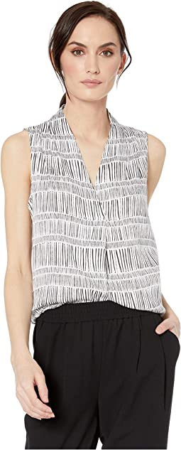 Printed Stretch Challis Sleeveless V-Neck Blouse