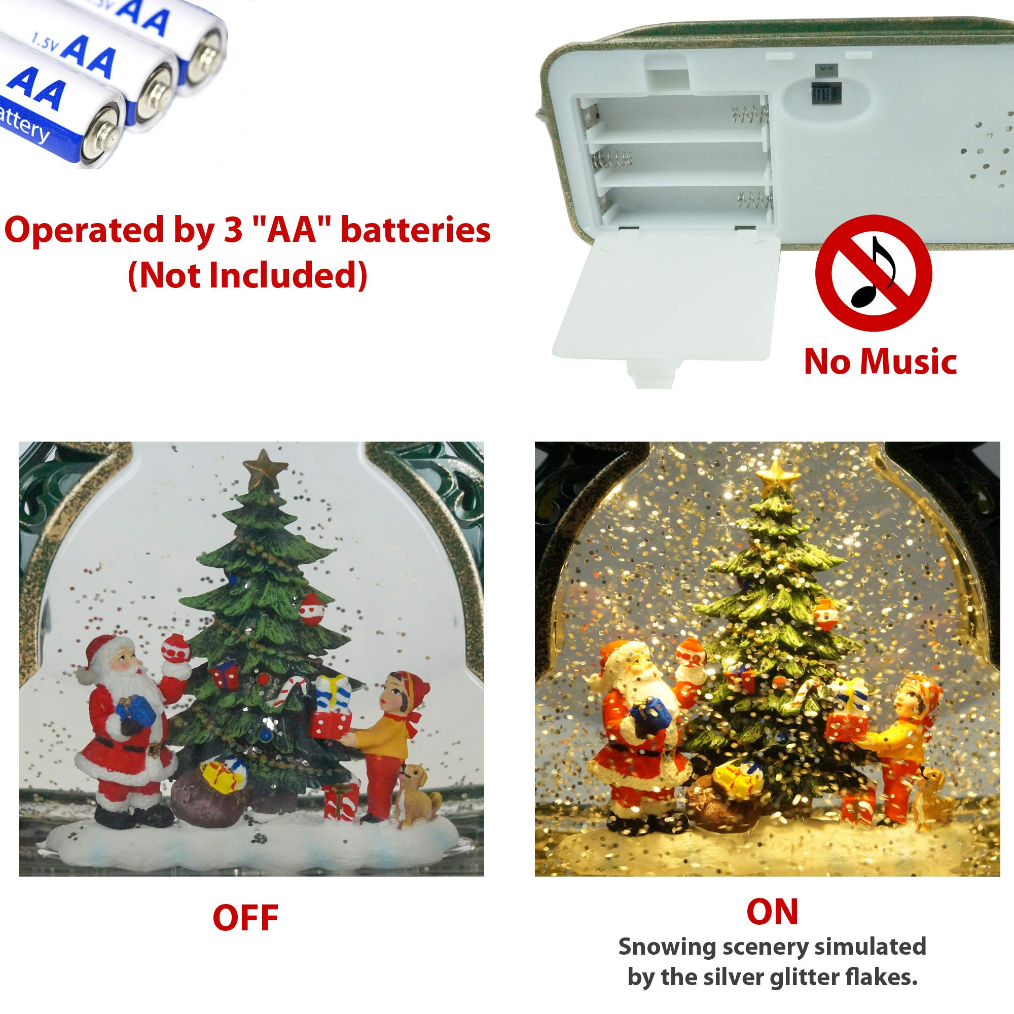 Kuda Moda Christmas Snow Globes Musical Gift Box Style Battery Operated LED Lighted Swirling Glitter Water for Christmas Decoration Children Decorating Tree