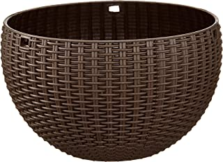 Garden Needs 100% Virgin Plastic Euro Plastic Basket | Set of 4 Hanging Planter, (22cm x 22cm x 24cm, Brown)