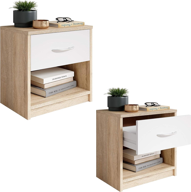 Ch/êne 28 x 39 x 41 cm Stella Trading Pepe Table de Chevet Sonoma//ABS Blanc