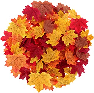 Maple Leaves Artificial Fall Leaves Bulk 400Pcs Assorted Mixed Faux Fall Color Maple Leaves Decoration Fake Maple Left Art...