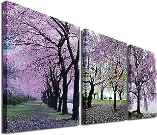 Mon Cherry Blossom Tree Canvas Print Spring Landscape Picture Wall Art Sakura Photo Prints Decoration Romantic Flower Poster Artwork Home Decor for Girls Living Room Bedroom 16x16x3P,Unframed,Pink