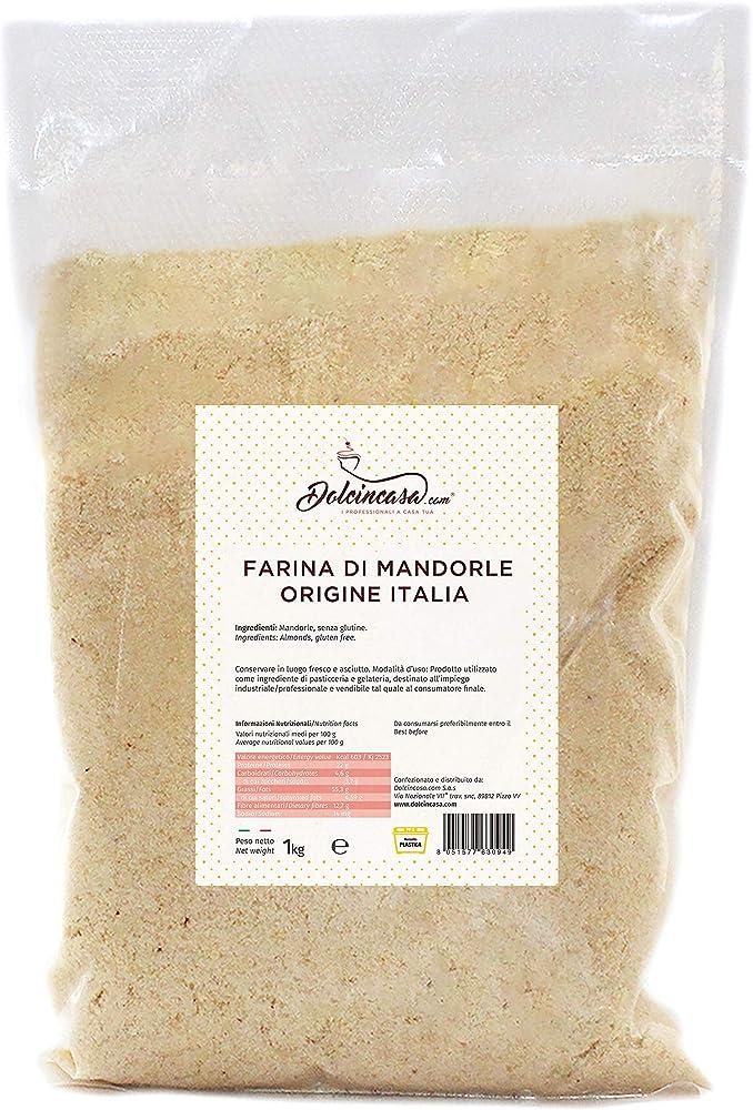 Dolcincasa,farina di mandorle 1kg per dolci uso pasticceria altissima qualita` origine sicilia