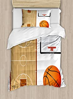 Lunarable Sports Duvet Cover Set, Basketball Court Backboard Illustration Realistic Sports Themed, Decorative 2 Piece Bedding Set with 1 Pillow Sham, Twin Size, Brown Orange