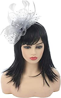 Myjoyday Fascinator Hats Flower Mesh Feathers on Headband Kentucky Derby Wedding Tea Party Headwear for Women