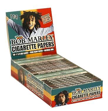 "Bob Marley Cigarette Rolling Paper 50 1 1/4"" Leaves Pk, Pure Hemp 25 Packs 1.25"" Size"