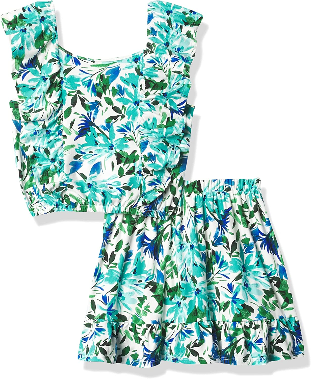 Speechless girls Flutter Sleeve Top and Flowy Skirt Set: Clothing, Shoes & Jewelry